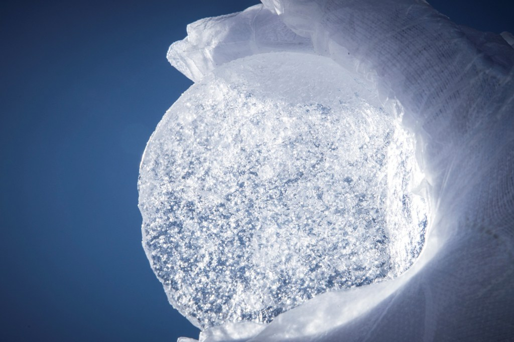 A section of an ice core is pictured from an international mission to Monte Rosa in this June 2021 handout photo. Picture taken June 2021.