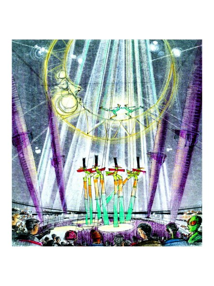 """A """"Cirque de Lune"""" experience is imagined in this drawing."""