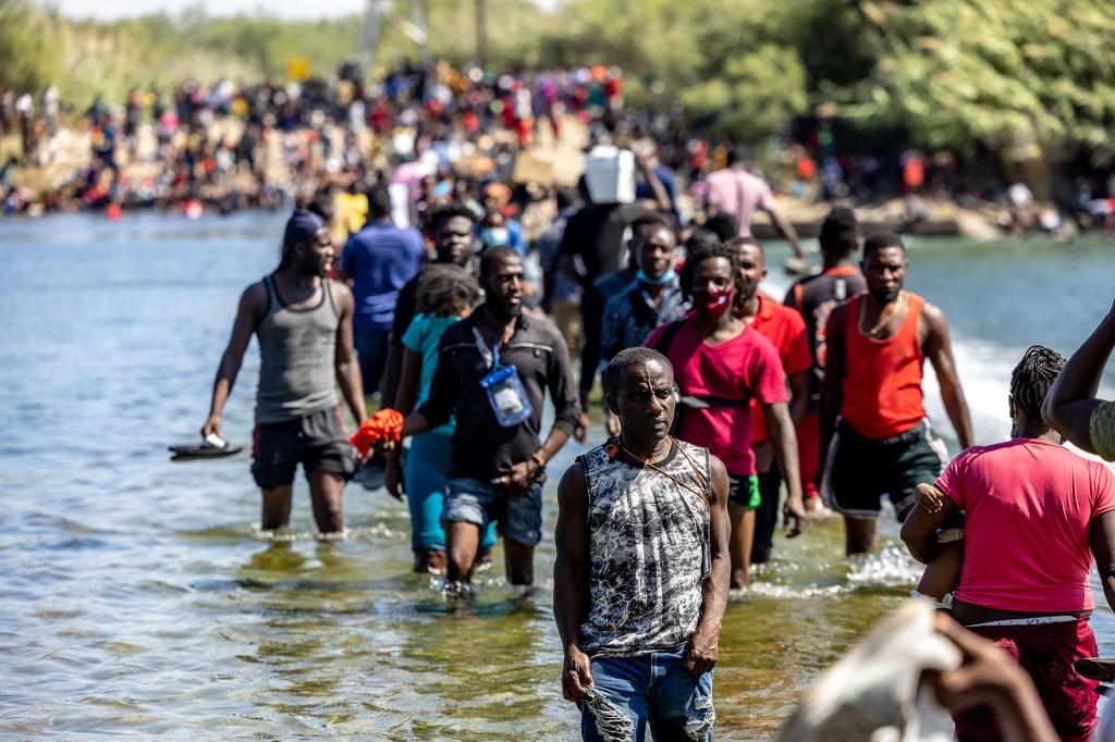 Migrants crossing the Rio Grande River near Del Rio on September 17, 2021.