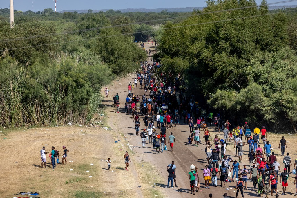 An encampment of migrants near the International Bridge on the border near Del Rio, Texas on September 17, 2021.