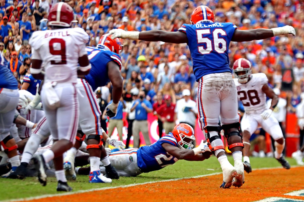 Florida Gators running back Dameon Pierce dives across the goal line to score a touchdown during the third quarter against Alabama at Ben Hill Griffin Stadium.
