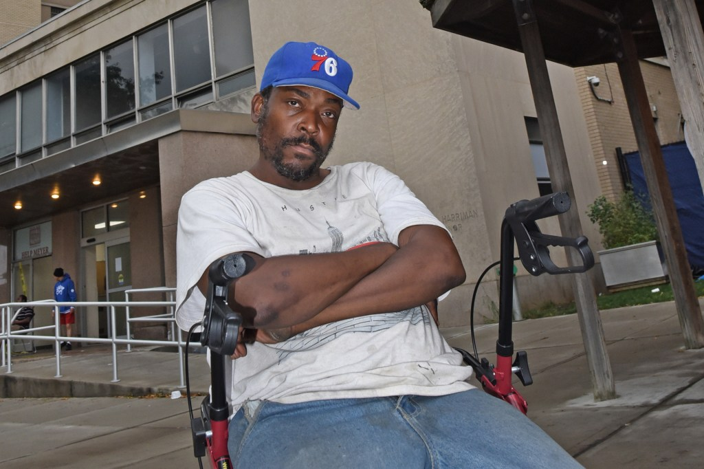 Homeless shelter resident Horace Clay of the HELP Meyer Mental Health +Shelter on Wards Island.