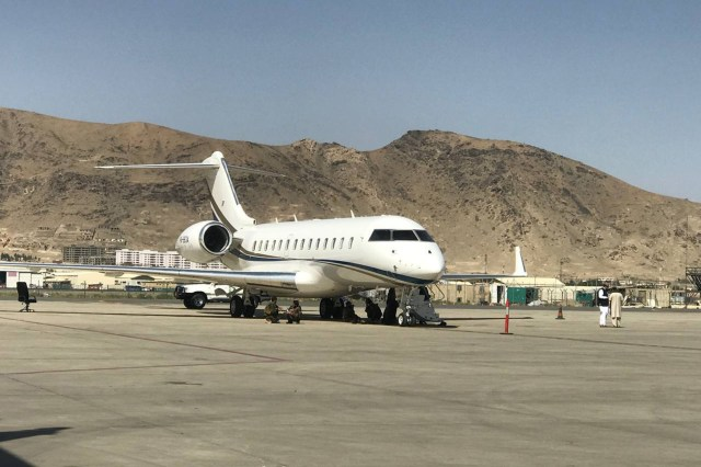 Pakistan Airlines plane seen at Kabul Airport
