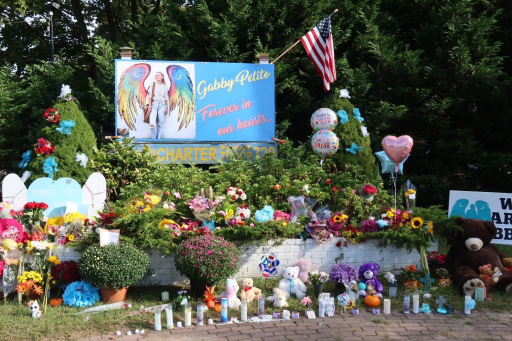 A makeshift memorial for Gabby Petito at the intersection of Nicholls Road and Montauk Highway in Blupoint, NY.