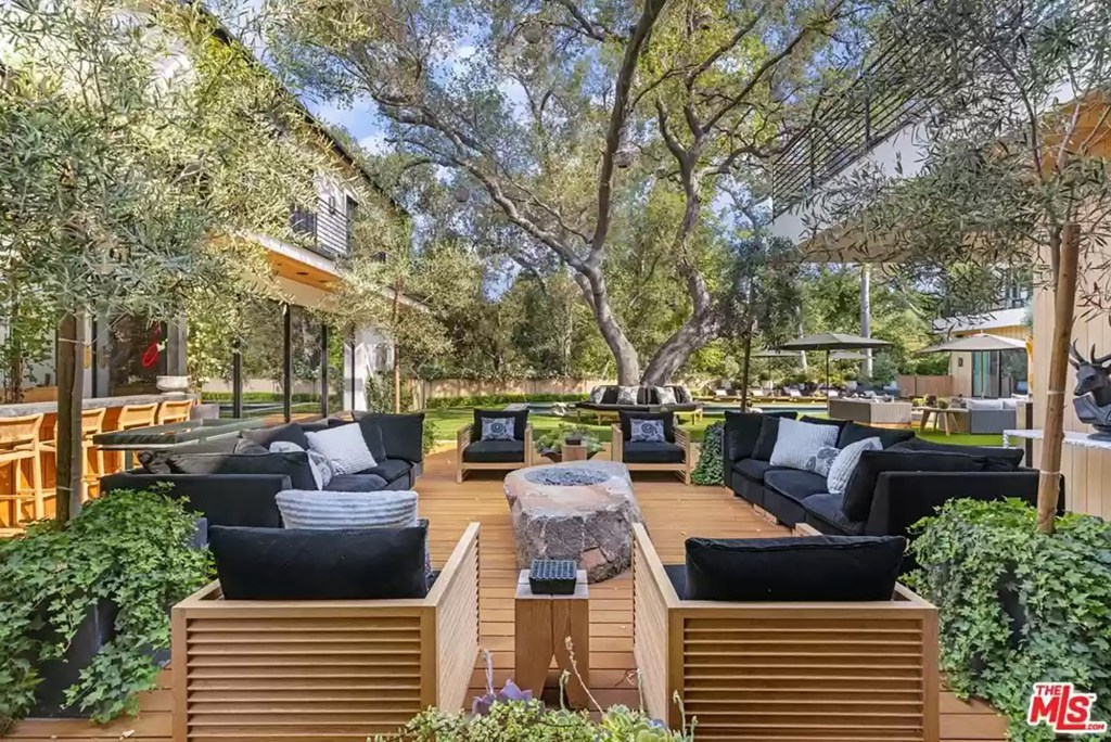 An outdoor patio in the Los Angeles house is pictured.