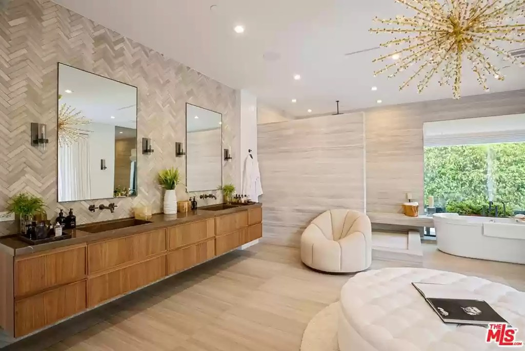 A bathroom in the Los Angeles house is pictured.