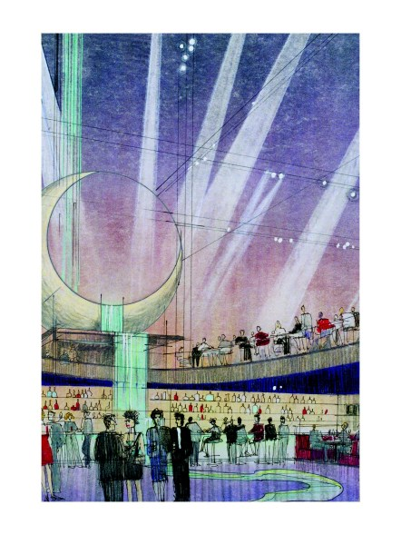 """The """"Moon River"""" restaurant is imagined in this drawing."""
