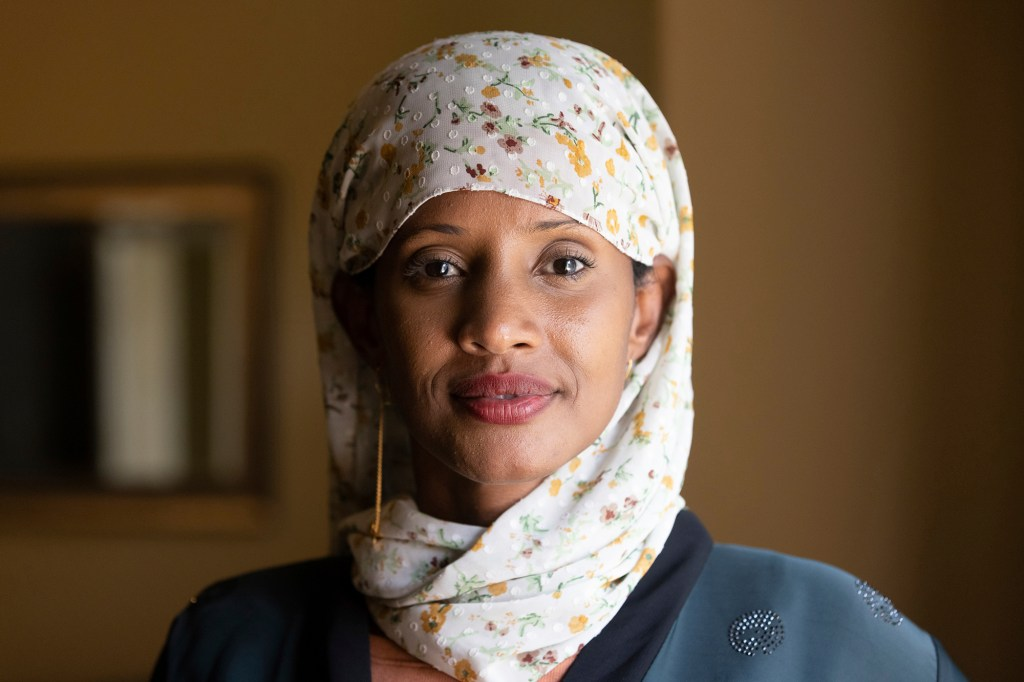 Shukri Olow, a Muslim woman who is running for King County Council District 5, poses for a portrait, Friday, Aug. 13, 2021, in Kent, Wash., south of Seattle.