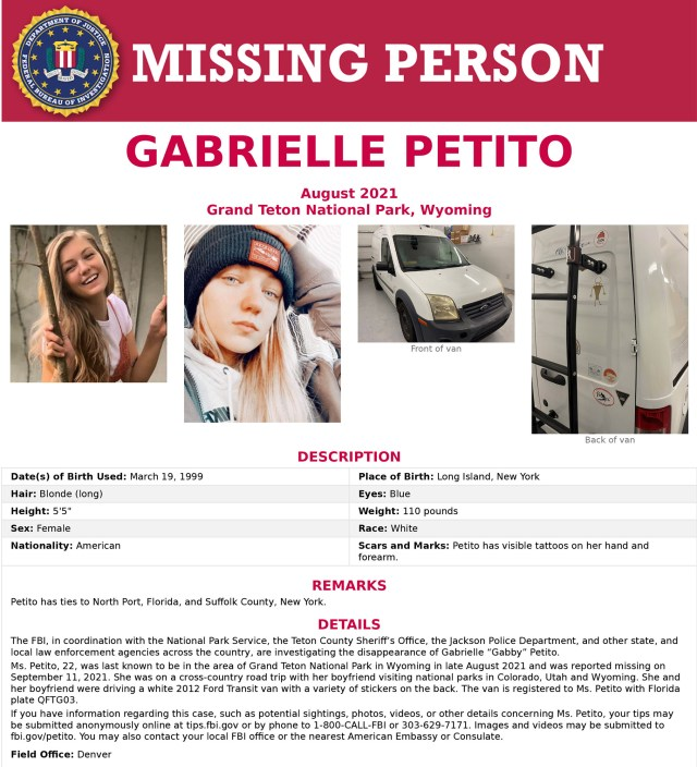 Missing poster for Gabby Petito.