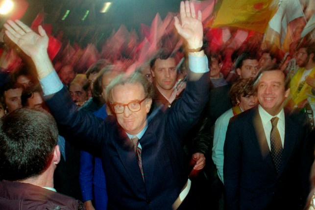 In a January 13, 1996 file photo, presidential candidate Jorge Sampaio waved to supporters as he arrived for his final campaign rally with Portuguese Prime Minister Antonio Guterres in Lisbon.  Sampaio, Portugal's two-time former president and one of the most prominent political figures of his generation, has died.