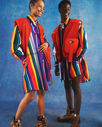A brightly colored vertically striped casual dress worn by both male and female models