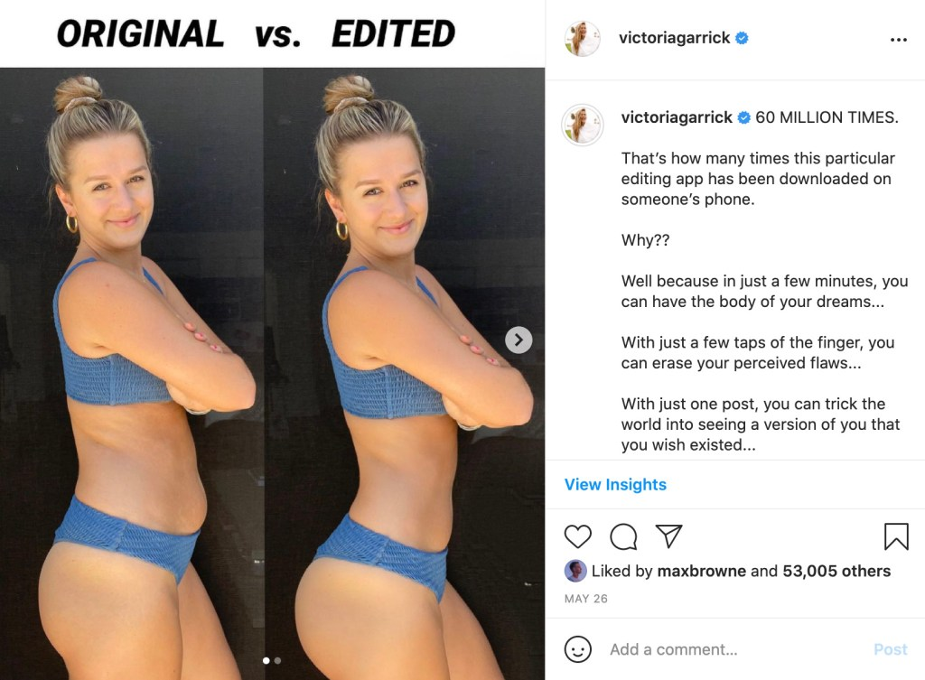 Victoria Garrick pictured before and after PhotoShopping her image to look thinner.