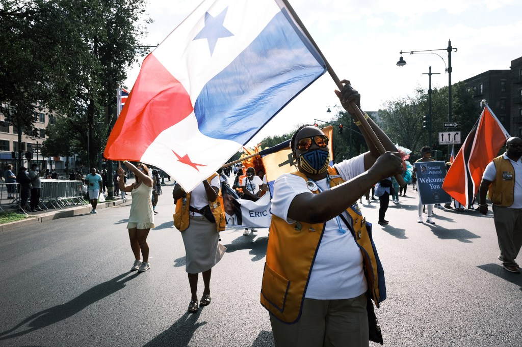 Despite being officially canceled due again this year to coronavirus concerns, a scaled-down version of the West Indian Day Parade moves down Eastern Parkway in Brooklyn on September 06, 2021 in New York City