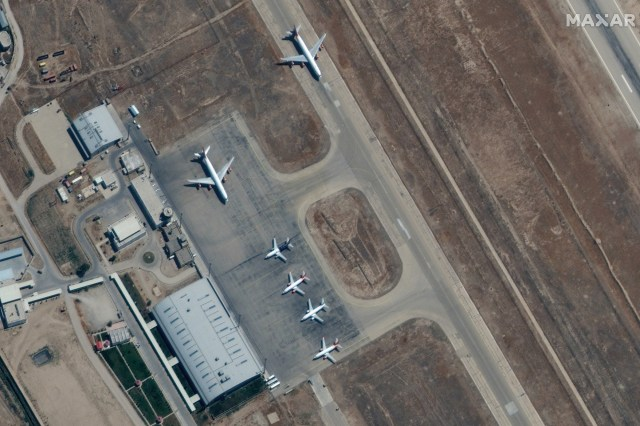 airplanes near the main terminal at Mazar-i-Sharif Airport, northern Afghanistan, 03 September 2021