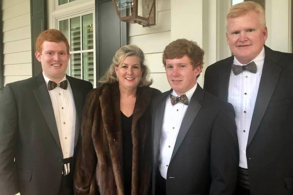 Alex Murdaugh's wife Maggie and son Paul (second right) were shot and killed at their South Carolina home in June.