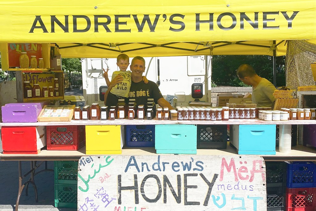 Andrew Coté and son Nobuaki at the Union Square Farmers' Market where he sells his honey.