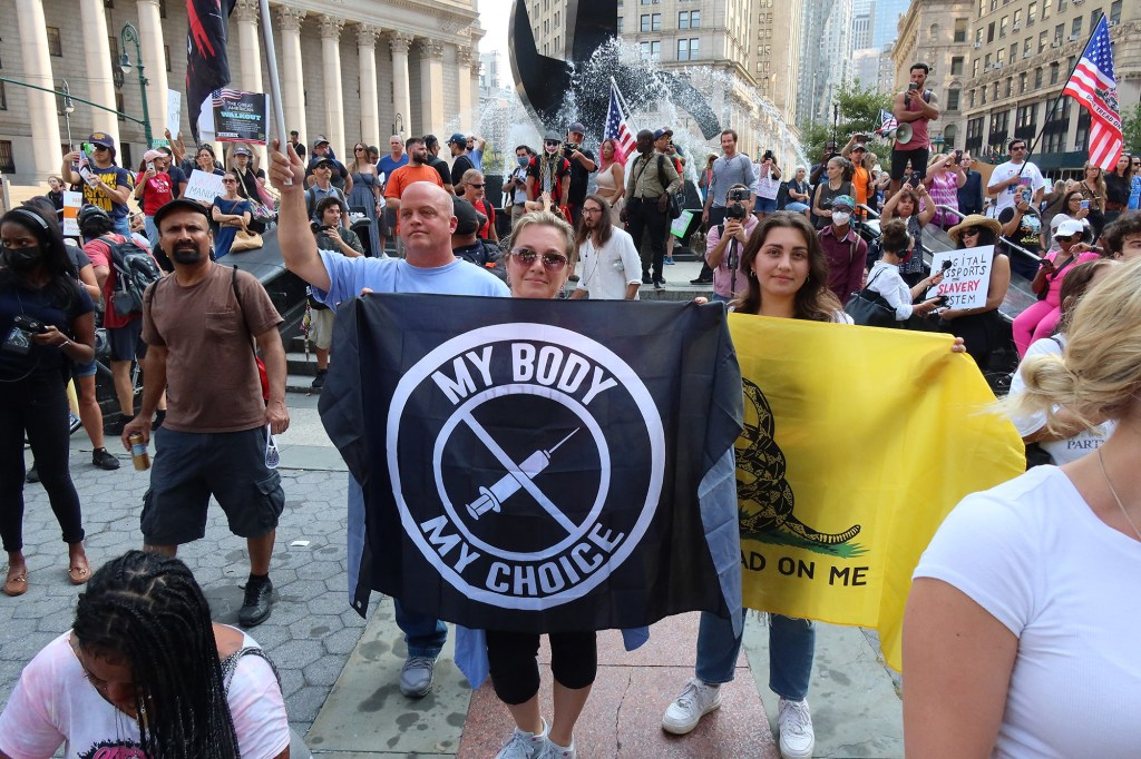 Anti-vax teachers and other anti-vax groups gathered at Foley Square in New York City to protest the vaccine mandate put in place by New York City on teachers. ... Sept. 13, 2021