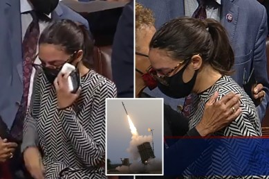 aoc cries after iron dome vote