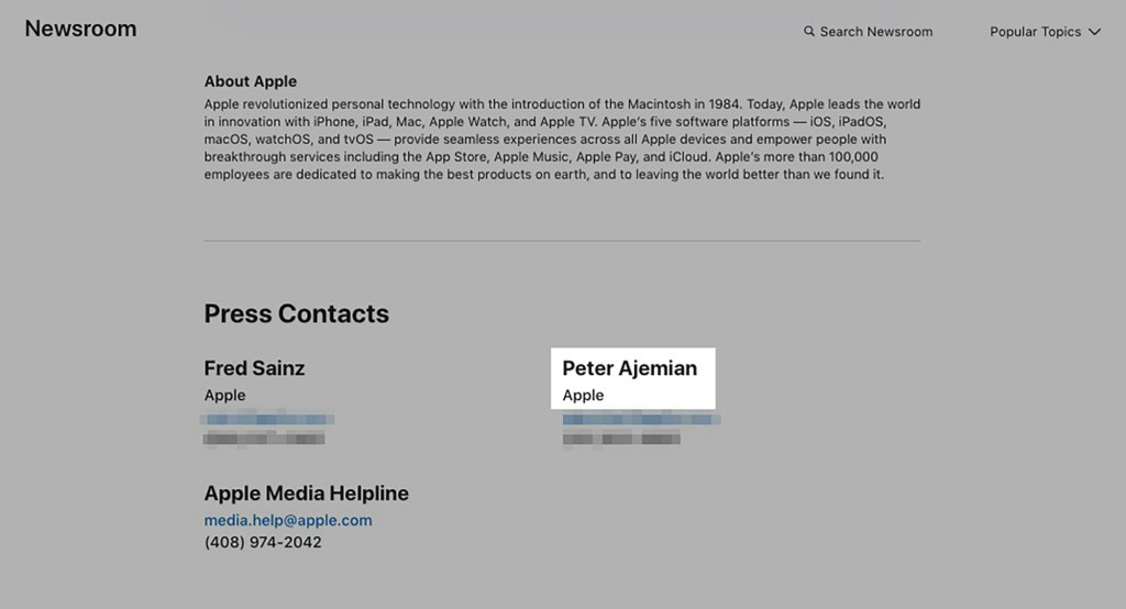 An Apple press release featuring Peter Ajemian's name and contact information