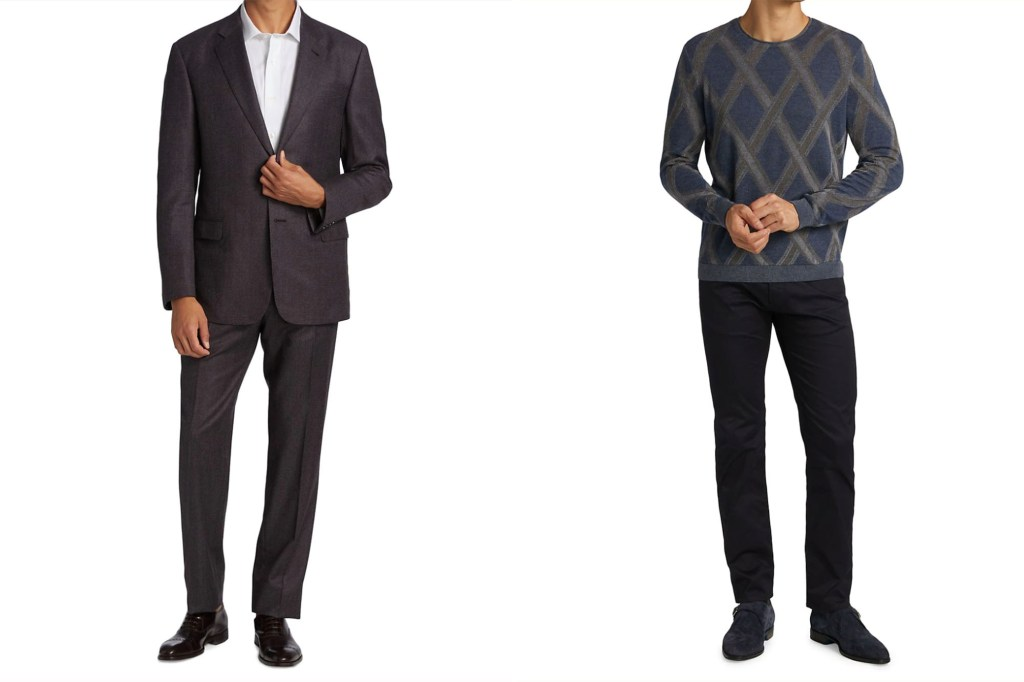 Two men side by side, one in a matching black suit and one in a argyle sweater and black slacks