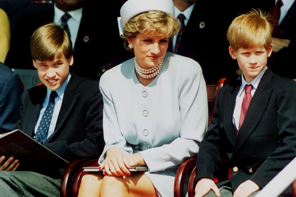 Princess Diana with her sons Prince William and Prince Harry.