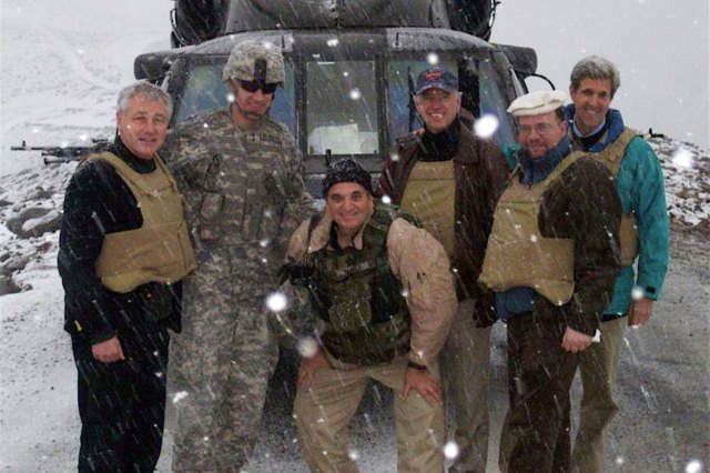 (Left to right) Then-Senators Chuck Hagel, Joe Biden, and John Kerry in Afghanistan on Feb. 20, 2008.