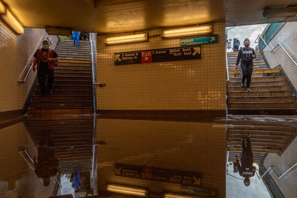 A flooded subway station in Manhattan after the heavy rainfall on September 2, 2021.