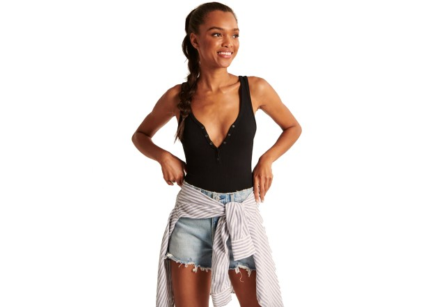 Seamless Ribbed Henley Bodysuit