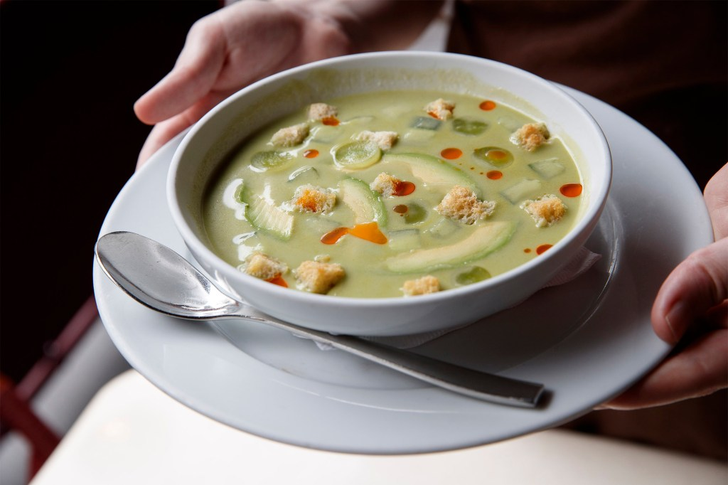 """The cucumber gazpacho at Bar Boulud, part of """"restaurant row"""" at 1900 Broadway, will help you muse."""