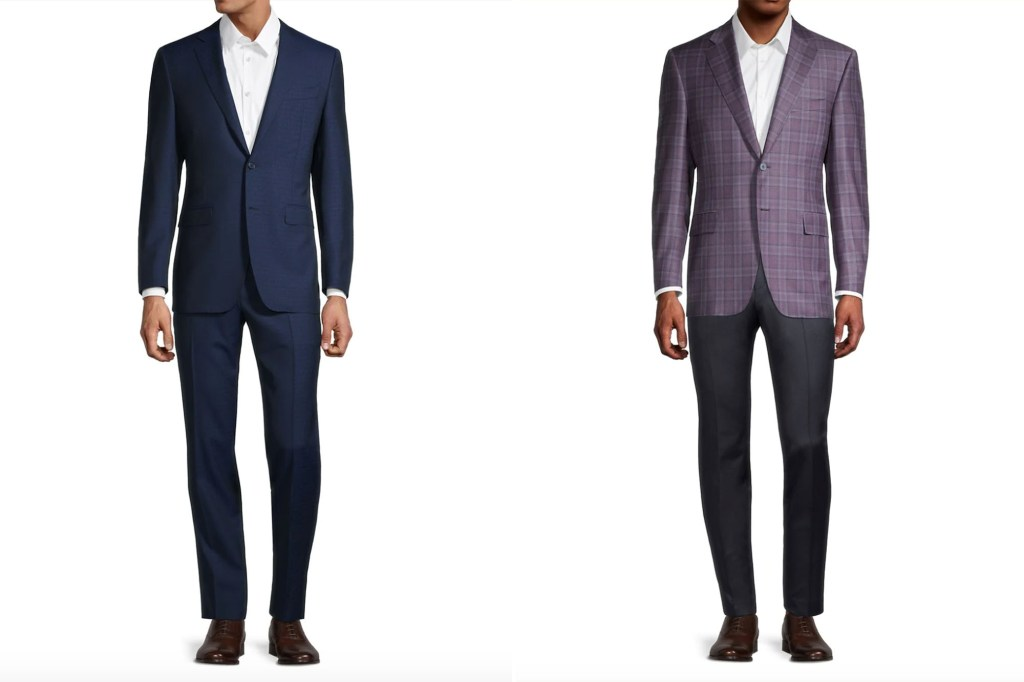 Two men side by side, one in a matching blue suit and one in a purple suit jacket and black slacks
