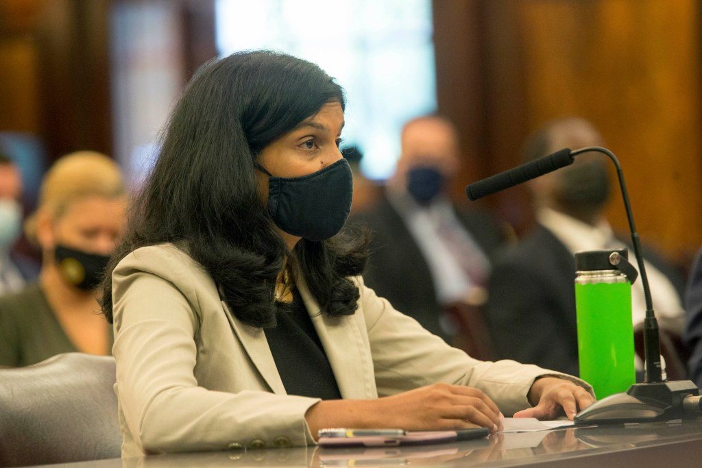 Jainey K. Bavishi Director of the New York City Mayor's Office of Resiliency testifying at a Couincil hearing on on lack of preparedness for Hurricane Ida