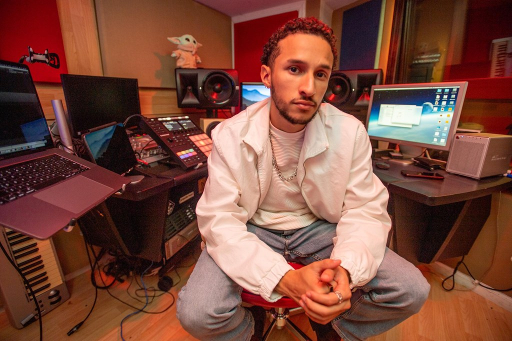 Devan Ibiza in his basement studio, Bronx, NY.