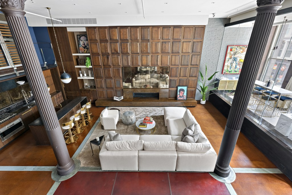 An overhead view of the great room.