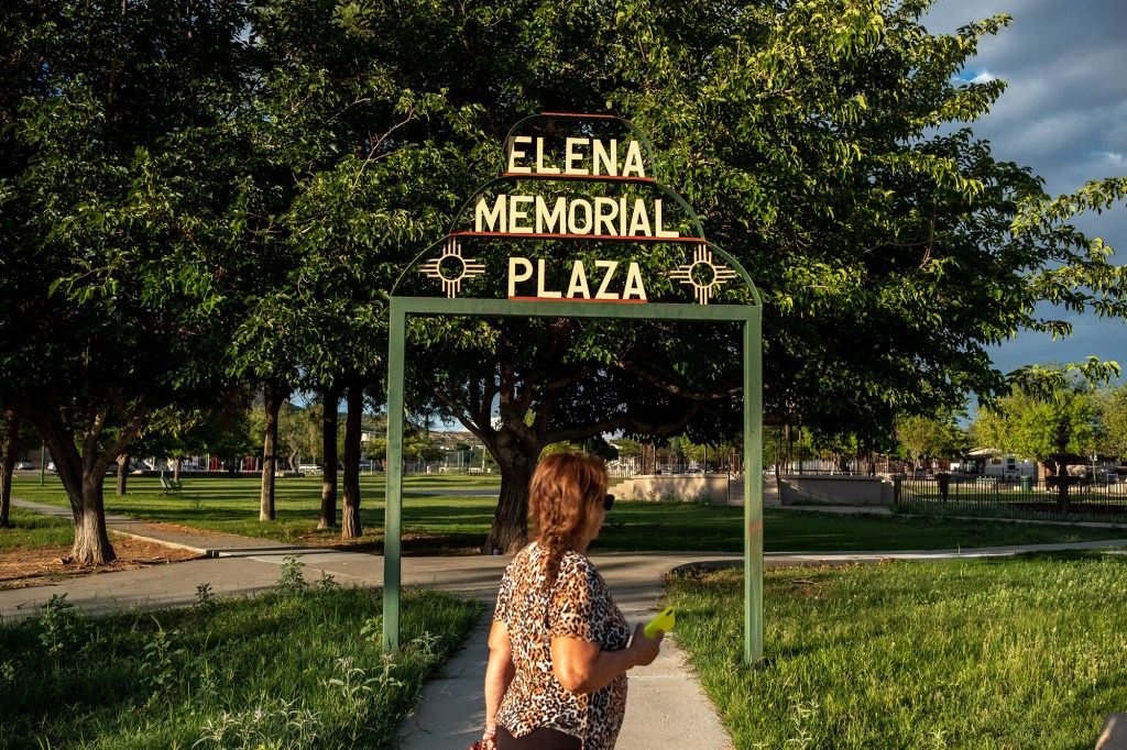 A person walks at Elena Memorial Plaza in Sunland Park, New Mexico, on Friday, September, 3, 2021.