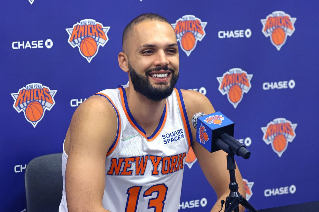 New York Knicks Evan Fournier #13, speaking to the media at the Knicks practice facility