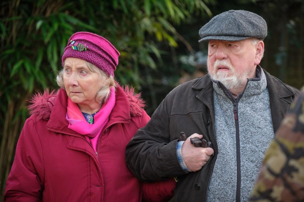Gemma Jones and Kenneth Cranham as Minnie and Gerry.