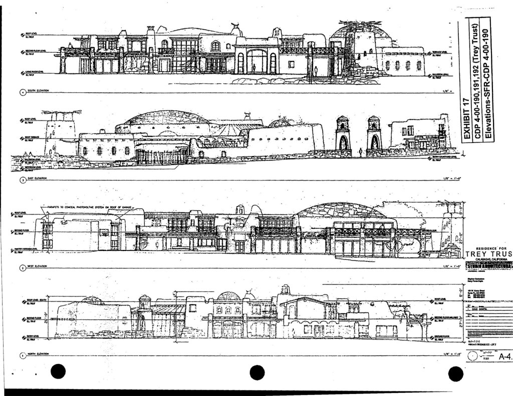 A sketch from permit documents is pictured. The house is filled with carved, heavy wood doors, stained glass windows, wrought-iron railings, adobe-style fireplaces and wooden beamed ceilings, past photos of the house show.