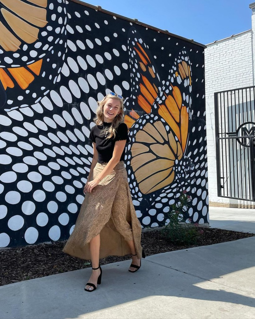Gabby Petito final post on instagram on August 25th in front of the Monarch butterfly mural in Ogden, Utah