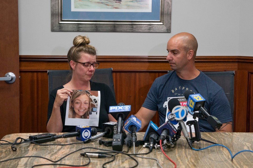An emotional Nichole Schmidt, mother of missing 22 year old Gabby Petito, along with her husband James Schmidt, speak to the media about her daughter.