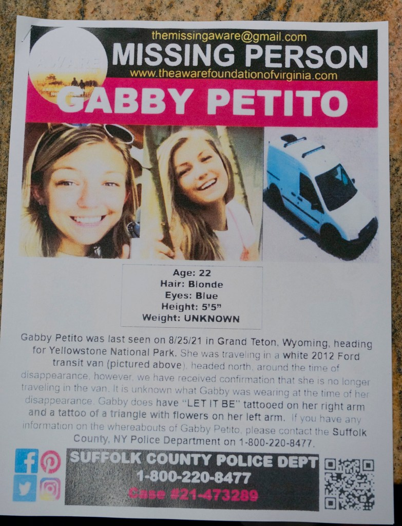 A missing poster seen for Long island native Gabby Petito.