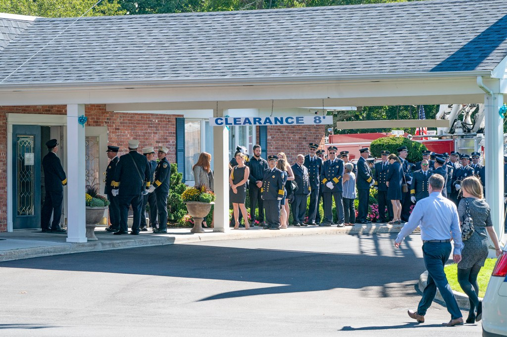 More than 100 firefighters lined up to attend the memorial service for Gabby Petito, whose stepfather is also a firefighter.