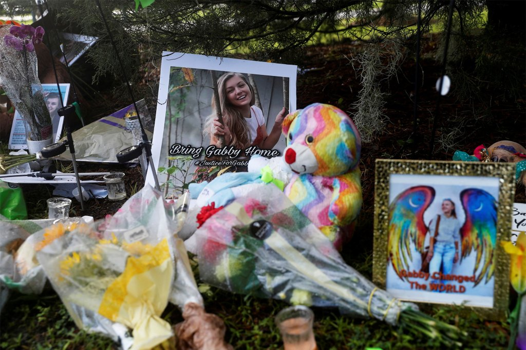 Flowers, photos and stuffed animals were placed at a memorial in remembrance of Gabby Petito in North Port, Fla. on Sept. 22, 2021.