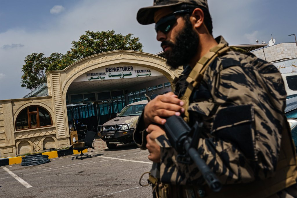 Scenes around the barbwires and perimeter around the civilian terminals now that the American forces have completed their withdrawal from the country and Taliban fighters moved in to secure the Hamid Karzai International Airport, in Kabul, Afghanistan