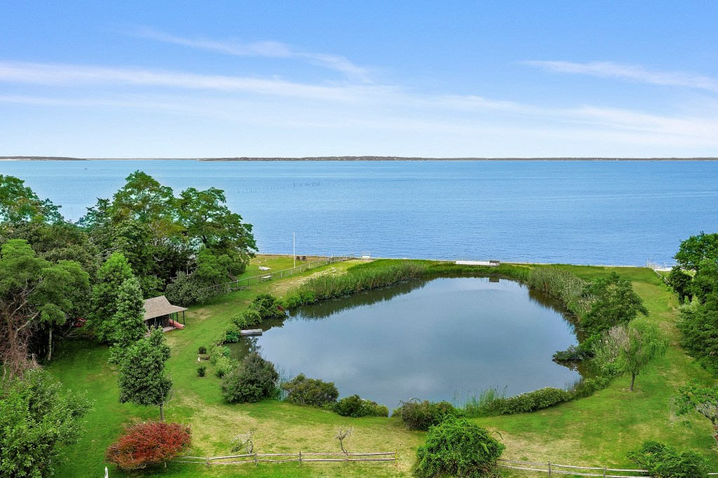 An exterior shot of a pond on the property.