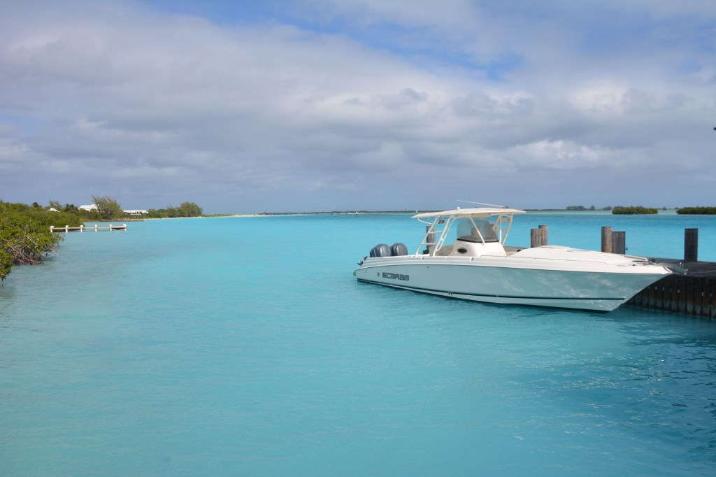 A boat parked at Parrot Cay.