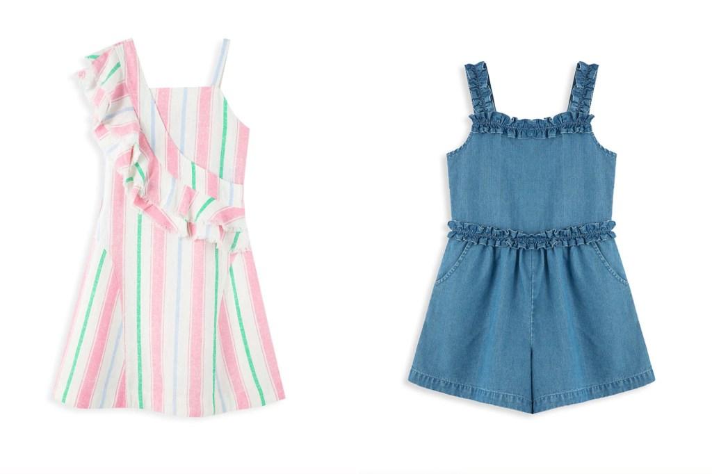 A little girl's pink dress and a blue denim dress