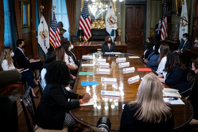 Vice President Kamala Harris meets with abortion and reproductive health providers with patients from across the country in the Eisenhower Executive Office Building in Washington, DC on September 9, 2021.