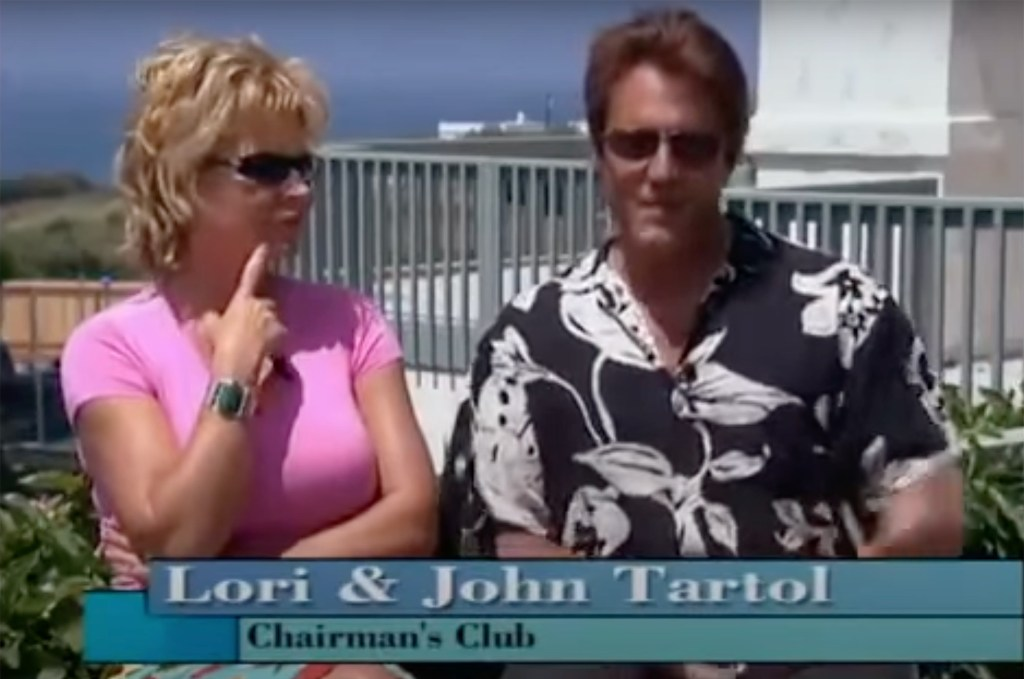 Lori and John Tartol appear outside their house in the video.