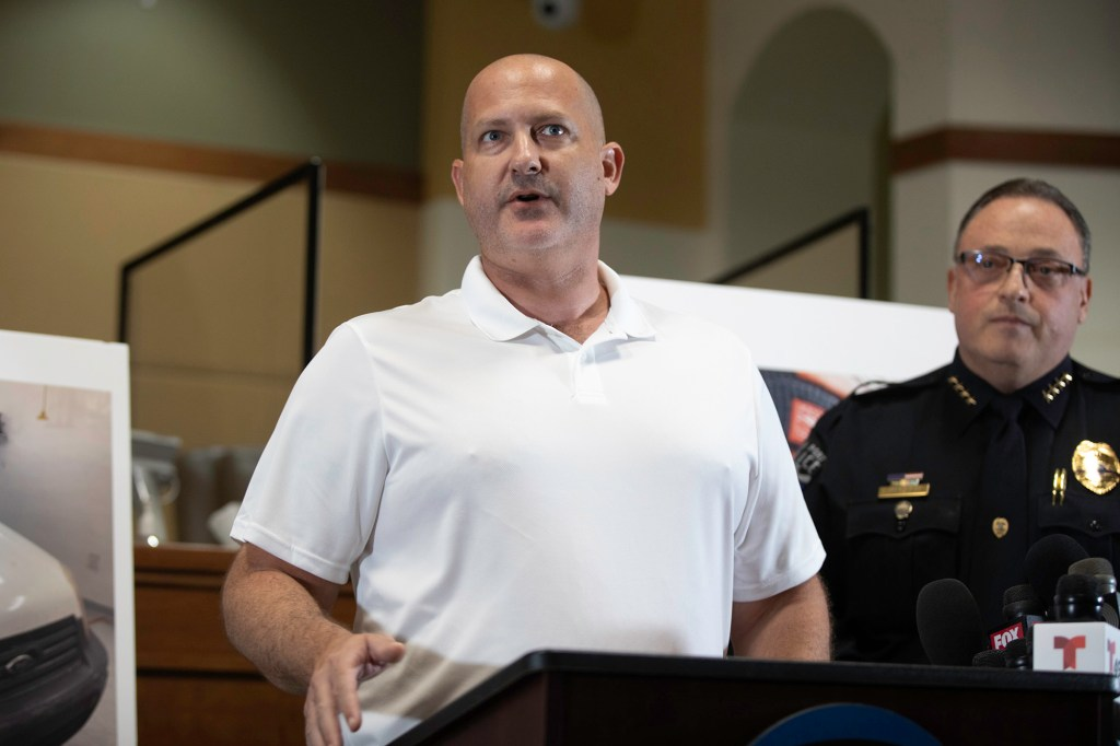 Joe Petito, father of Gabby Petito speaks at a press conference at North Port City Hall in Florida.