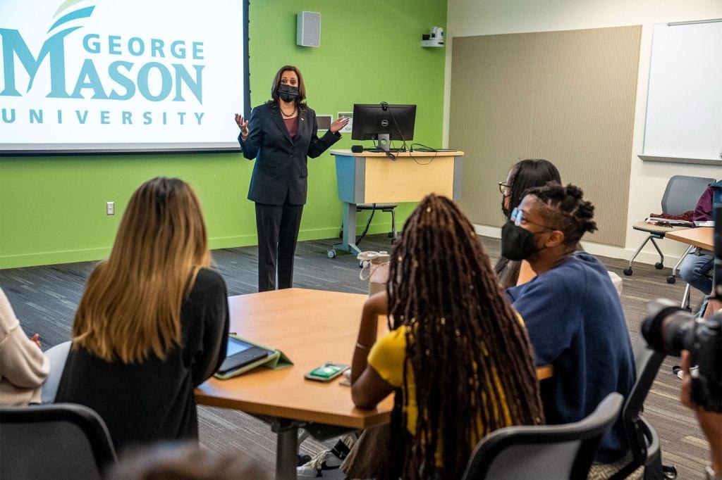 Kamala Harris at the political science classroom at George Mason University.